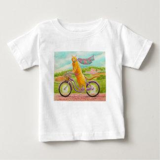 Oranje Kat op een Paarse Fiets Baby T Shirts