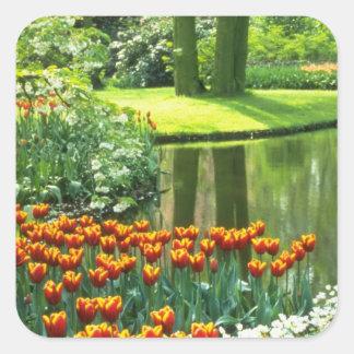 Oranje Keukenhof Tuinen, de bloemen van Holland Vierkant Stickers