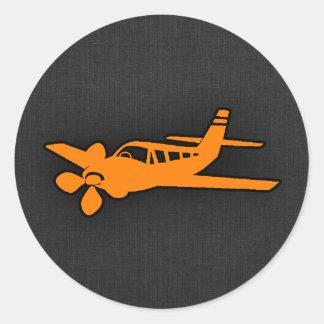 Oranje Klein Vliegtuig Ronde Stickers