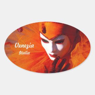 Oranje Kostuum in Carnaval van Venetië, Italië Ovale Sticker