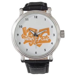 Oranje Liefde Graffiti Horloges