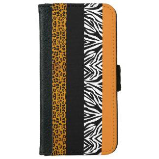 Oranje Luipaard en de Gestreepte Dierlijke Druk iPhone 6 Portemonneehoesje