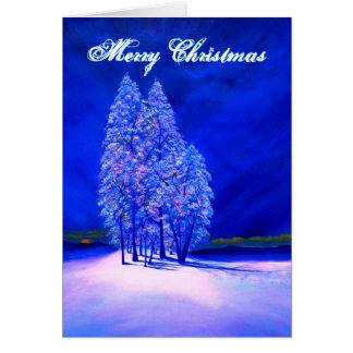 Oranje Maan die bij Ijzige Kerstbomen gluurt Briefkaarten 0