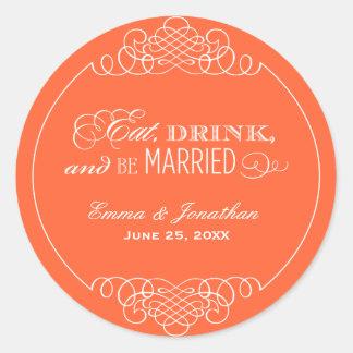Oranje Monogram | van het Huwelijk eet Drank & is Ronde Sticker