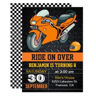 Oranje Motorfiets die de Kinder Uitnodiging van de