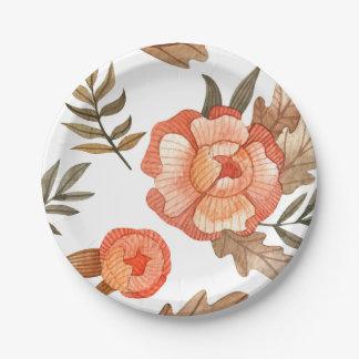 Oranje patroon van de de batikbloem van de Herfst Papieren Bordje