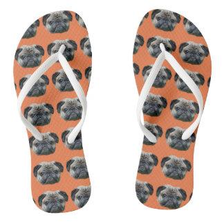 Oranje pug hondteenslipper teenslippers