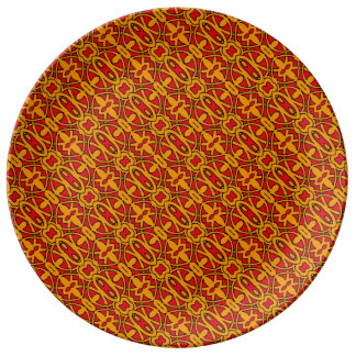Oranje & Rood Hand Getrokken Patroon Porselein Bord
