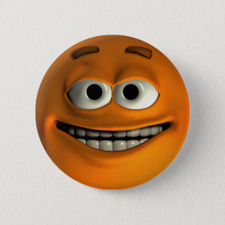Oranje Smiley Ronde Button 5,7 Cm