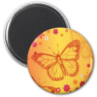 Oranje Vlinder Ronde Magneet 5,7 Cm