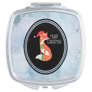 Oranje Vos in Rode Vrolijke Kerstmis van het Pet Make-up Spiegeltjes