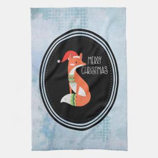 Oranje Vos in Rode Vrolijke Kerstmis van het Pet Theedoek
