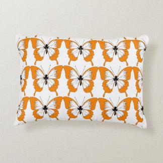 Oranje & wit vlinderhoofdkussen decoratief kussen