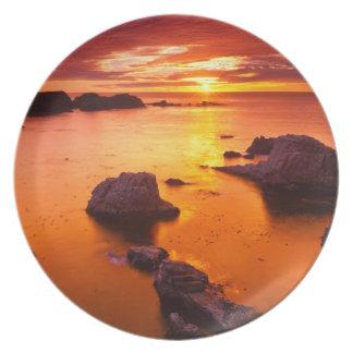 Oranje zeegezicht, zonsondergang, Californië Melamine+bord