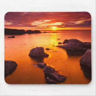 Oranje zeegezicht, zonsondergang, Californië Muismatten