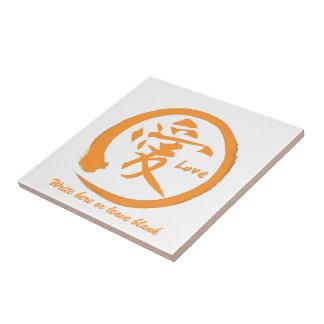 Oranje zencirkel | Japans kanji symbool voor Keramisch Tegeltje