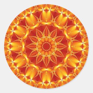 Oranje Zon Ronde Sticker