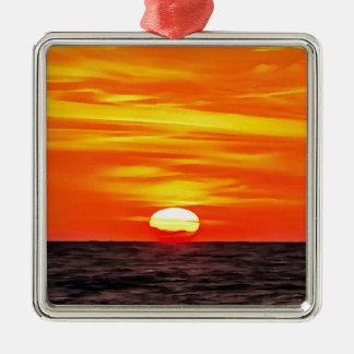 Oranje Zonsondergang Zilverkleurig Vierkant Ornament