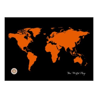 oranje zwarte wereldkaart poster