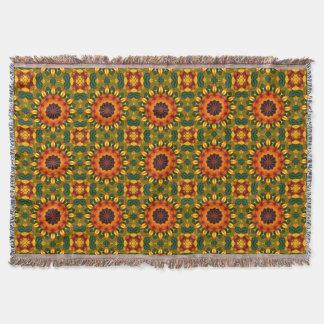 Oranjegele Natuur 02.2, bloem-Mandala van de Iris Deken