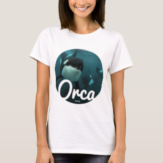 Orcas underwater circle t shirt