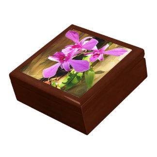 Orchideeën in Trinket van de Ceramiektegel van de  Vierkant Opbergdoosje Large