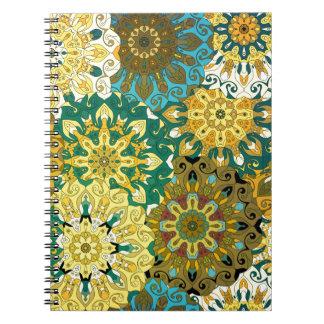 Oriënteer mandala blauw & geel | Indisch motief Ringband Notitieboek