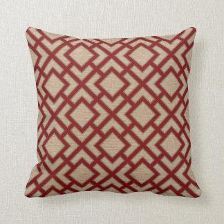 Oriënteer Vierkant Patroon in Rood en Natuurlijk Sierkussen