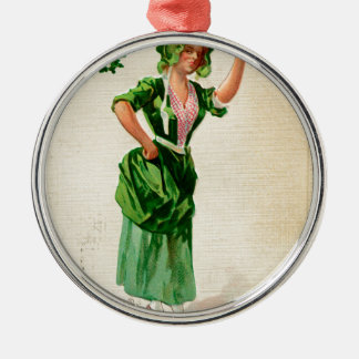Originele de dagdame van Heilige Patrick in groen Zilverkleurig Rond Ornament