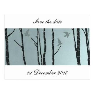 Originele zilverberk, vogel - burgerlijk huwelijk, briefkaart
