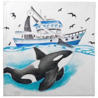 Orka en de Boot Katoenen Servet