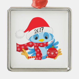 Ornamament van de Vogel van Kerstmis Blauwe Zilverkleurig Vierkant Ornament