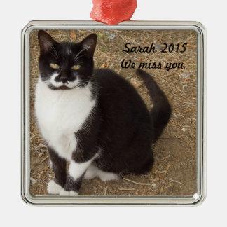 Ornament: De zwarte Zitting van de Kat van de Zilverkleurig Vierkant Ornament