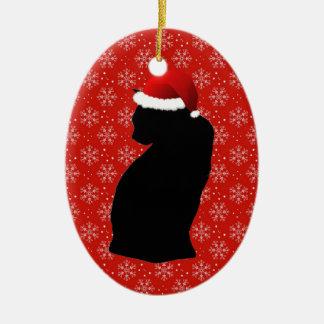 Ornament van de Kat van de kerstman het Zwarte