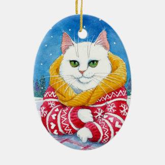 Ornament van de Kat van Kerstmis het Witte