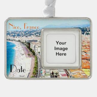 Ornament van de Reis van Nice Frankrijk het Verzilverd Omlijst Ornament