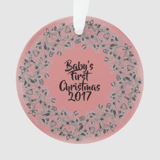 Ornament van Eerste Kerstmis 2017 van de baby het