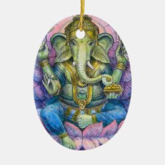 Ornament van Kerstmis van Lotus Ganesha het Ovale