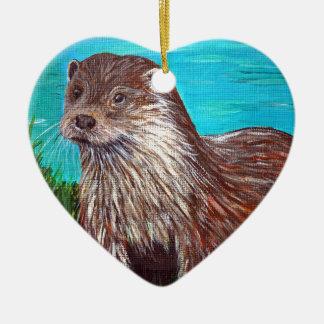 Otter door een Rivier Keramisch Hart Ornament