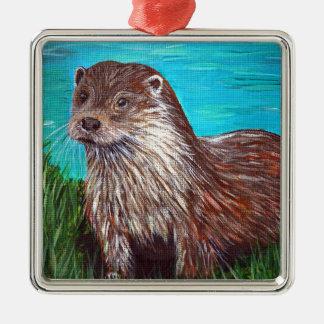 Otter door een Rivier Zilverkleurig Vierkant Ornament