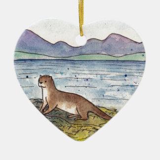 otter van loch keramisch hart ornament
