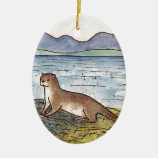 otter van loch keramisch ovaal ornament