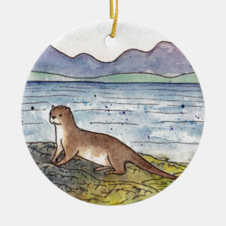 otter van loch rond keramisch ornament