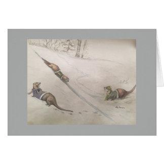 Otters die in sneeuw spelen wenskaart