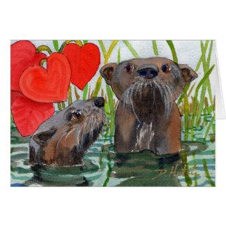 Otters. Een verjaardagskaart voor otterminnaars Wenskaart