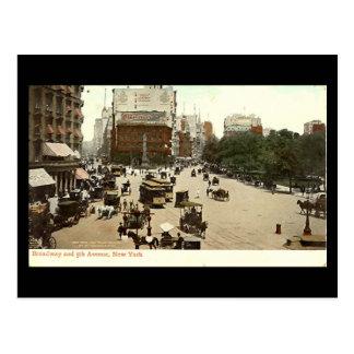 Oud Briefkaart, Broadway & 5de Ave, de Stad van Briefkaart