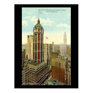 Oud Briefkaart - Broadway, de Stad van New York