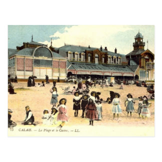 Oud Briefkaart - Calais, Strand & Casino