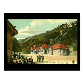 Oud Briefkaart - de Liften, Folkestone, in 1910