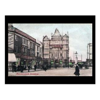 Oud Briefkaart - Londen, Hammersmith Broadway in